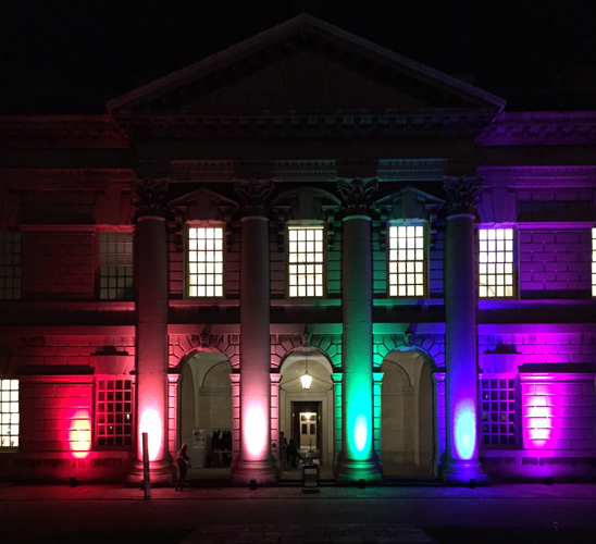 Greenwich University lit up for the launch of Outcome