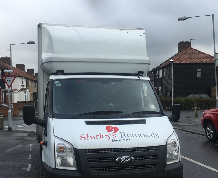 Shirley's Removals Van front view